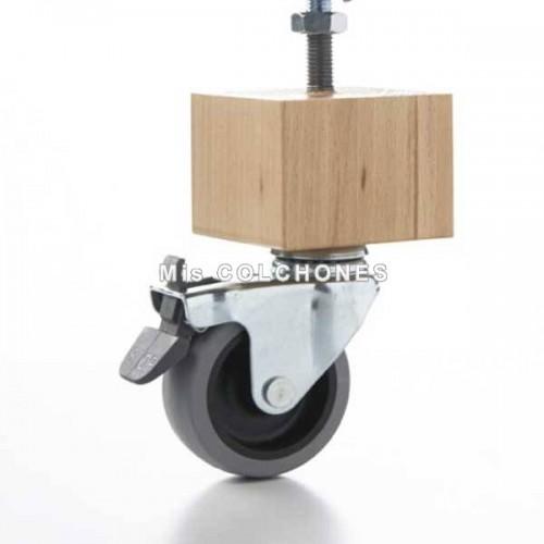 Pata madera cuadrada con rueda.