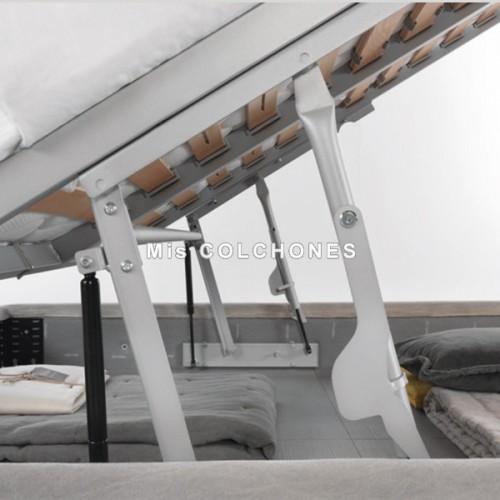 Cama Hollis con canapé polipiel, Altura 124
