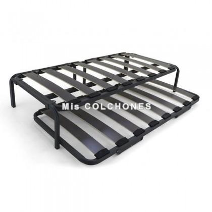 Conjunto cama nido con lámina flexible.